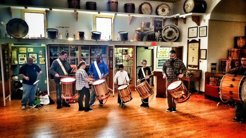 Attendees and Instructors enjoy a Jam Session in the Museum of Fife & Drum after one of the Juniors workshop events