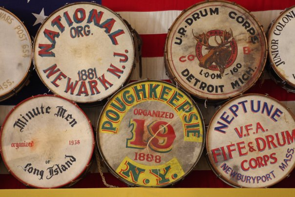 A wall of bass drums at the Museum of Fife and Drum