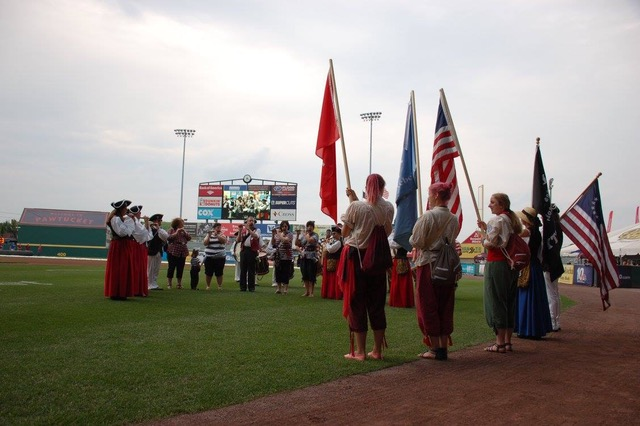 The Bristol County Fifes & Drums and the Argovia Rebels play at McCoy Statium
