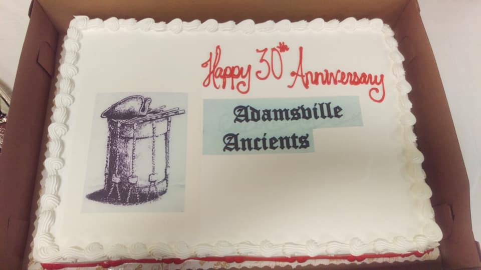 There was cake to celebrate the 30th Anniversary of the Adamsville Ancients!