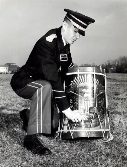 1960 042 George Carroll in The US Army Band with Moeller drum sm